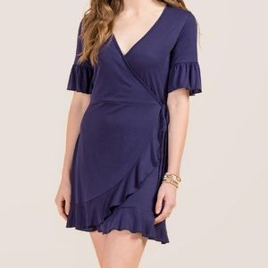 Francesca's NWT Coraline navy ruffle wrap dress